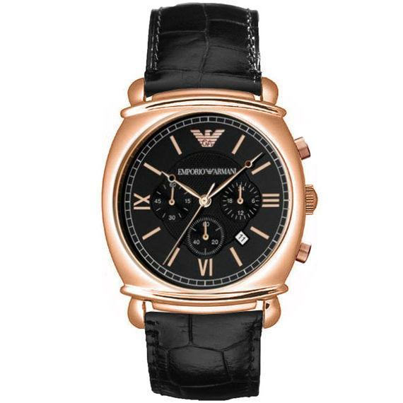 Emporio Armani Ar0321 Classic Mens Black Leather Chronograph Watch By Watchessg.