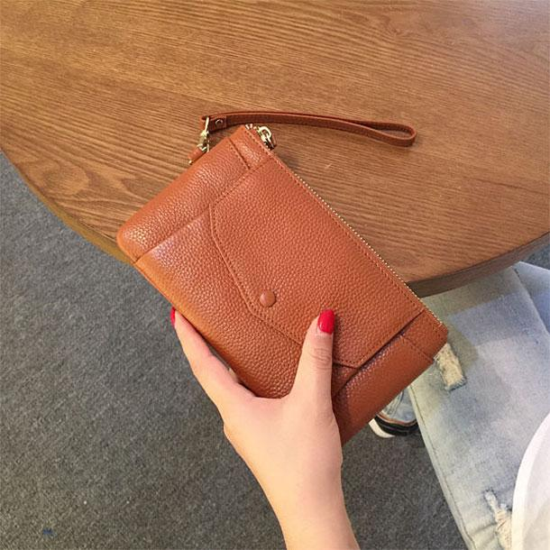 2019 New Style Leather Womens Handbag Versatile Large Capacity Leather Handbag Korean Style Trend Female Mobile Phone Clutch