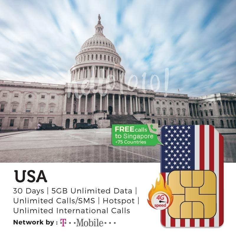 Usa T-Mobile Travel Prepaid Sim Card By Hello1010.sg.