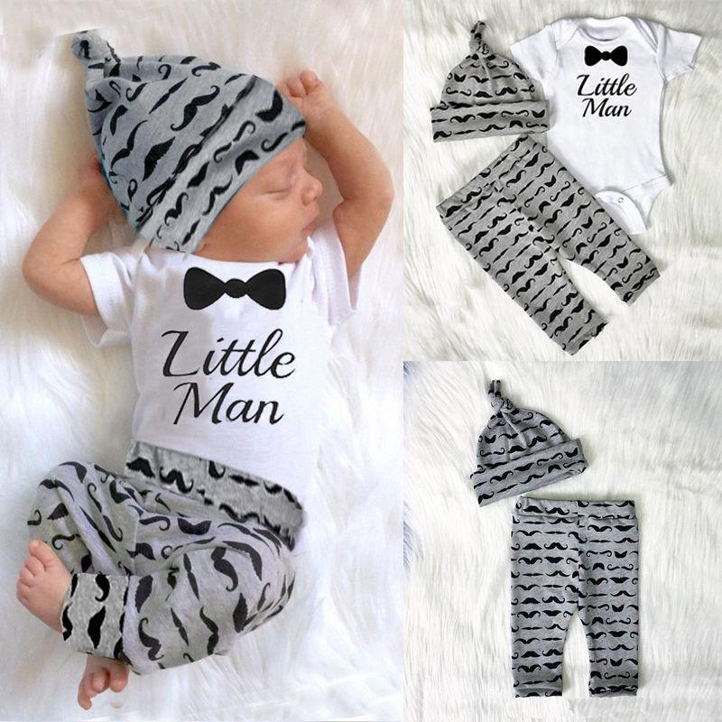 28fcdc792 Newborn Baby Boy Infant Short Sleeve Romper + Long Pants +hat Outfit Set  Clothes -