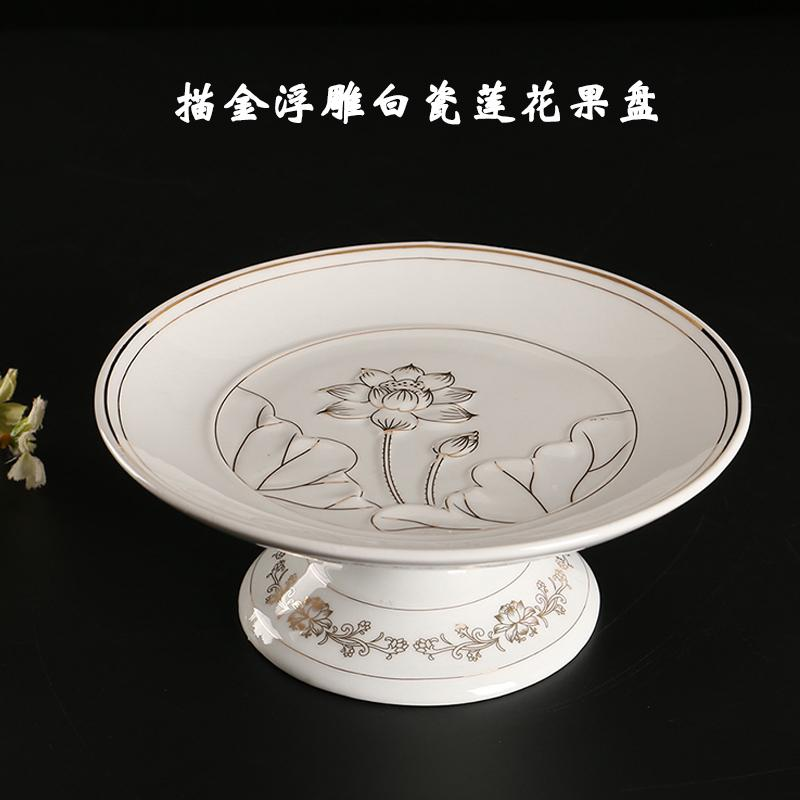 Before the Buddha Tribute Fruit Bowl Ceramic for Buddhist Prayer Room Household for Plate LOTUS Plate Relief for Fruit Plate Buddha Utensils for Fruit Bowl