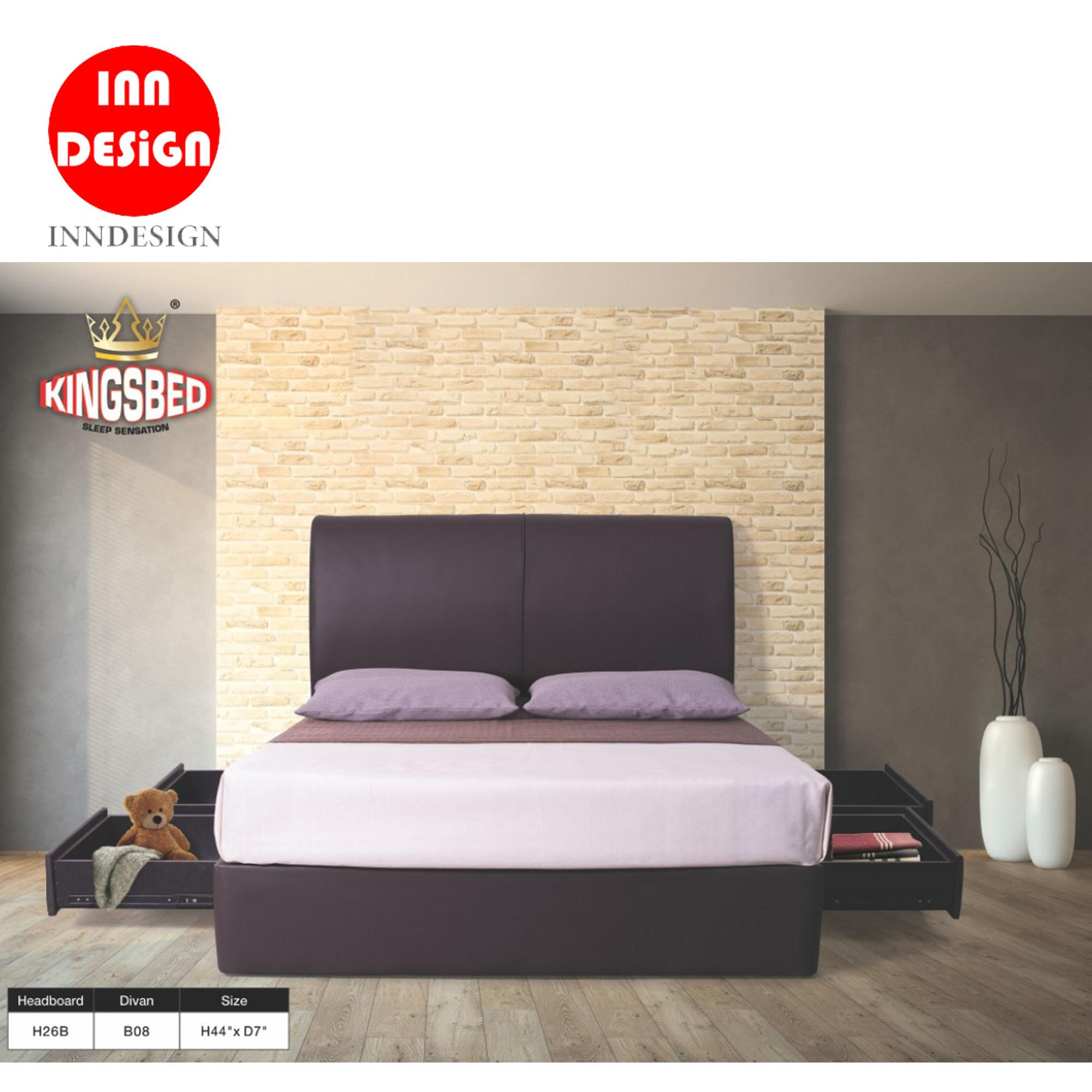 PU Leather Bedframe /Divan Bed with 4 Drawers