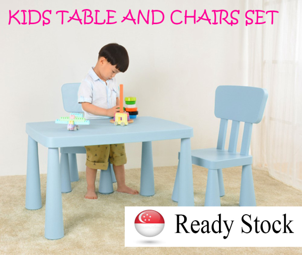 [FULLY ASSEMBLED] Pre-School Kids Learning Table and 2 Chairs Set Safer / DurableFor Children [SG READY STOCK]