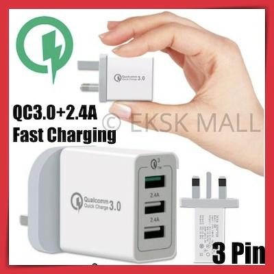 Multi Usb Charger Qualcomm Quick Charge Port 3.0 Ultra Fast Charge 3 Ports Uk 3 Pin Travel Adaptor High Quality By Eksk Mall.