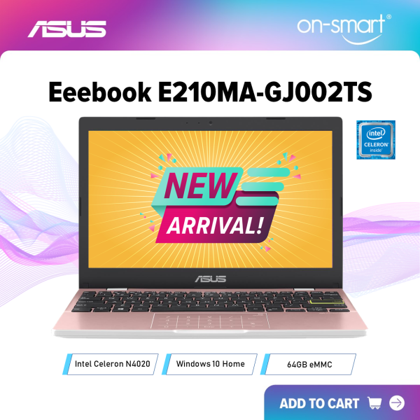 【Next Day Delivery】ASUS Eeebook E210MA-GJ002TS | Intel Celeron N4020 Processor | 4GB DDR4 RAM | 64GB EMMC | Intel UHD 600 Graphics | 11.6 HD 1366 x 768 Anti-Glare Display | Windows 10 Home | 1 Year International Warranty