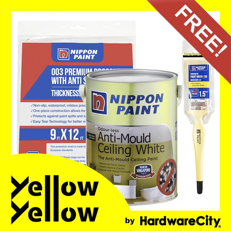 [FREE PAINT SET] Nippon Paint Odour-less Anti-Mould Ceiling White 1 Litre Package