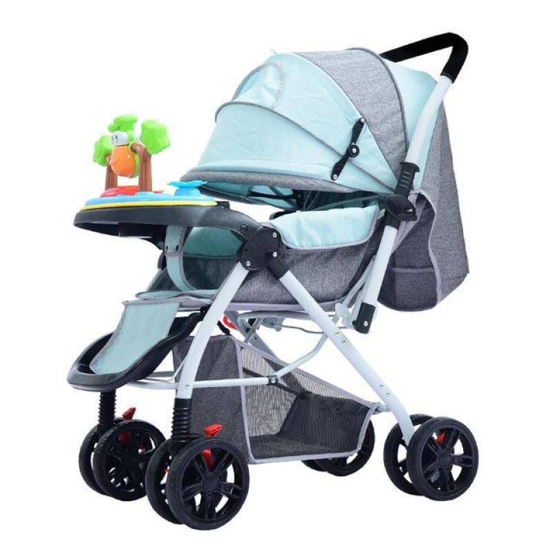 Quick Folding in 2 Seconds Cabin Size Lightweight Lite Two-way Baby Stroller Widening Lengthening Adjustment Visible Skylight Pram with Tray Music Toy Free Accessories Singapore