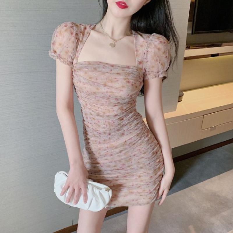Cổ Áo Hở Xương Quai Xanh Phong Cách Retro Hoa Nhỏ Khí Chất Váy Liền Kiểu Gấp Tay Bồng Tôn Dáng Ôm Body Ôm Mông Đầm Nữ Thủy Triều
