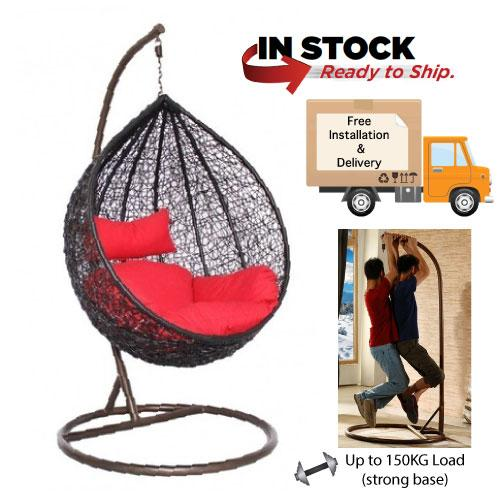 [Furniture Amart] Outdoor Swing Chair Balcony Furniture in Brown with Red cushions (Limited Sets)