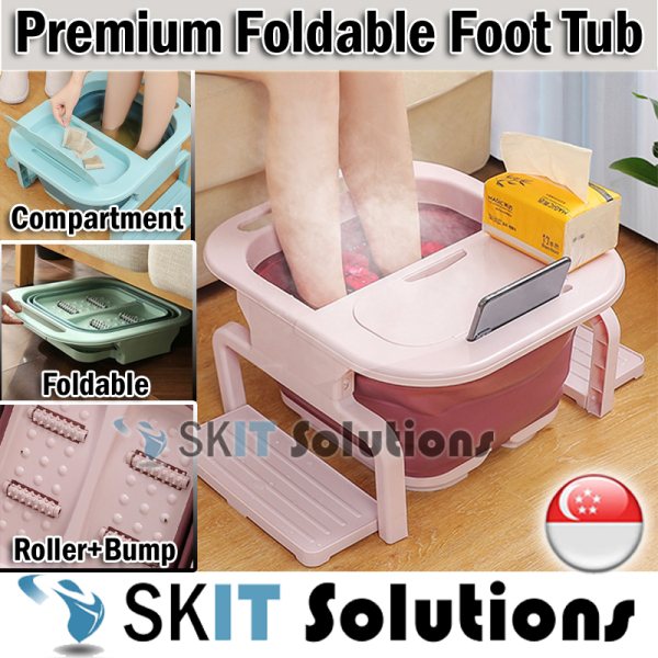 Buy Premium Foldable Collapsible Foot Bath Portable Bucket w/ Storage, Foot Massager Soak Basin Foot Relax Wash Care Tub Portable Foot Reflexology Tool Multipurpose Foot Spa Massage w/ Beads Roller Chinese Herb Health Care Relaxing Leg Detox Reduce Pressure Singapore