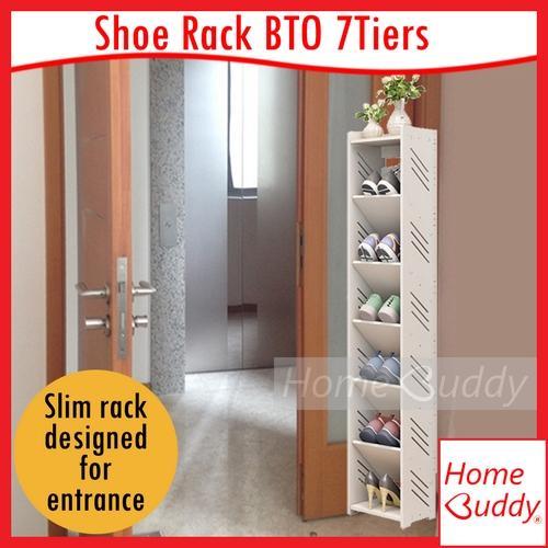 Shoe Rack BTO 7 Tiers_ Door Entrance Shoe Rack_ READY Stocks SG_ HomeBuddy_ shoe cabinet_ slim shoe rack_ hdb bto shoe rack_ condo shoe rack_ corner shoe rack_ hidden shoe rack