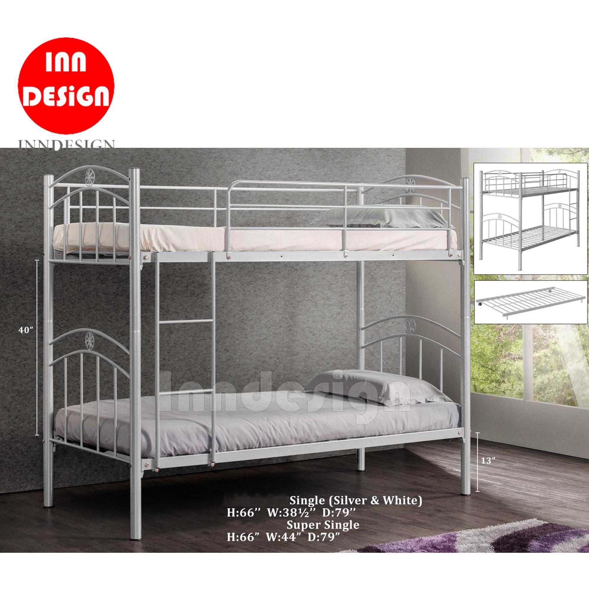 [1 YEAR WARRANTY] Double Deck Bed Single Metal Bed / Super Single Metal Bed / Metal Bed Frame (Silver)