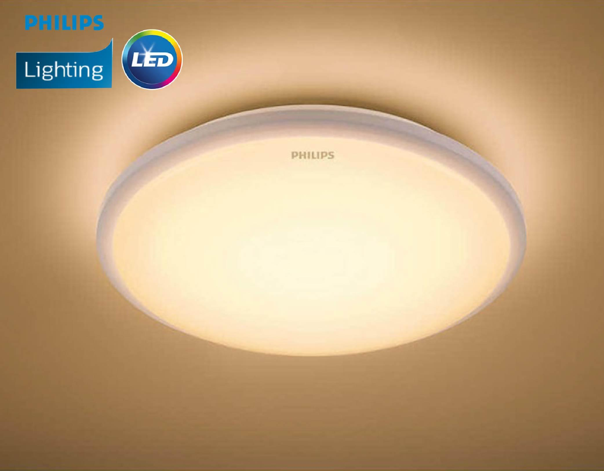 Philips 33369 65K/27K Cool Daylight/Warm White (10W/650lm) Moire Round LED Essential Ceiling Light