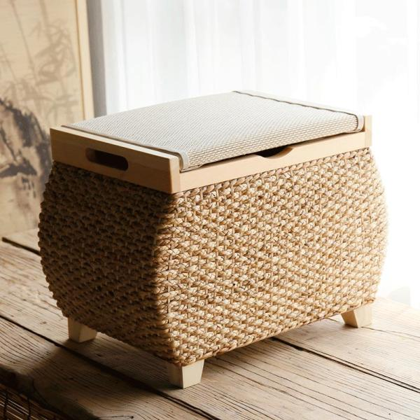 Northern Europe Vine Storage Chair Can Storage Shoes Stool Finishing Box Rattan Sofa Stool hua zhuang deng Can Sit People Foot Bench