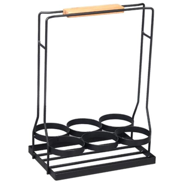 6 Bottle Wine Caddy Sturdy Black Coated Frame Protects Bottles.Real Natural Wood Handle Folds For Compact Storage