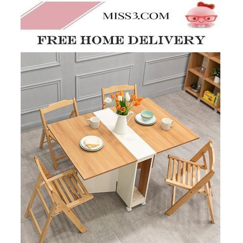 Foldable Dining Table With chairs/stools (140cm)