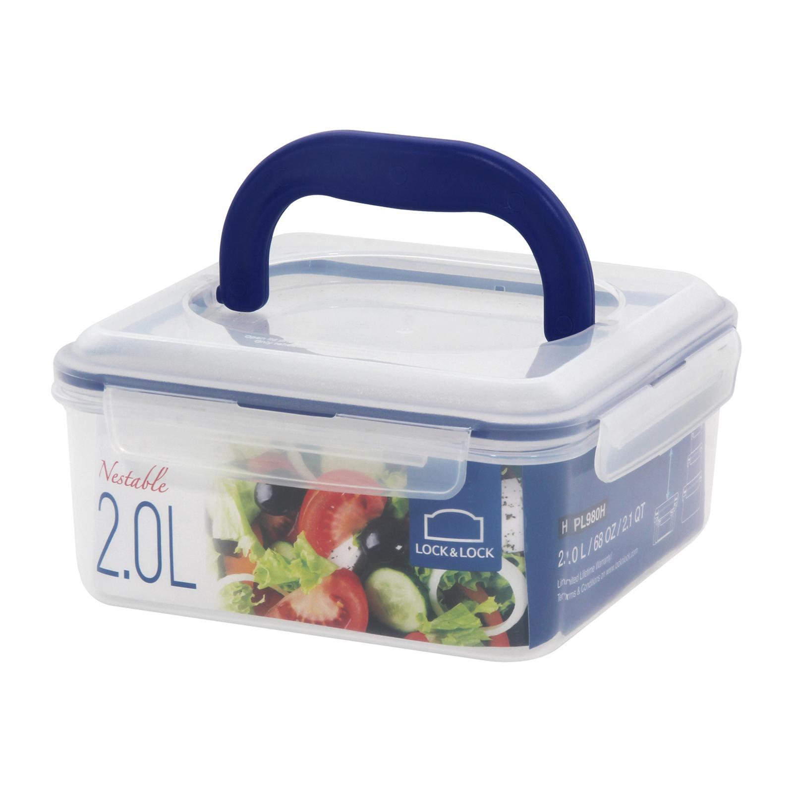 Lock and Lock Nestable Square Food Container With Handle