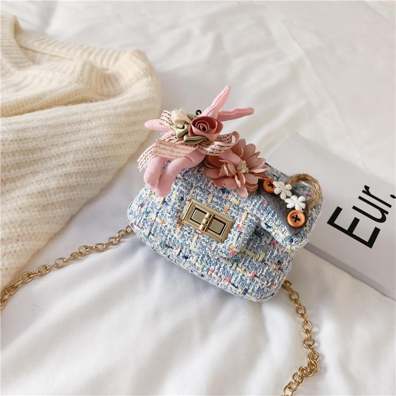 Er tong bao 2019 New Style Woolen Cloth Square Sling Bag Graceful Men And Women Children Shoulder Bag Princess Accessories Package Foreign Trade Hot Selling