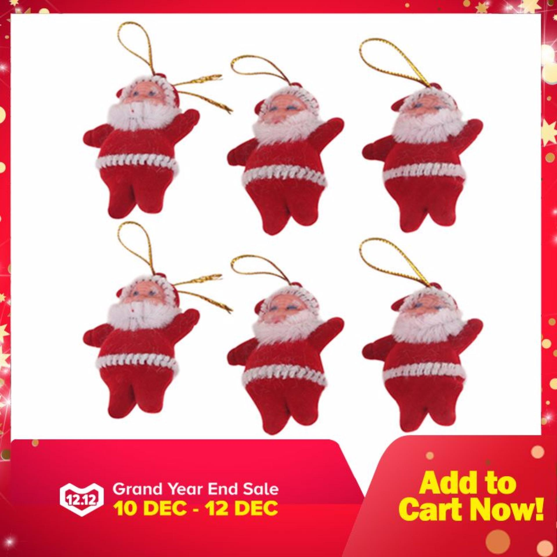 6pcs Christmas Santa Claus Ornaments Festival Party Xmas Tree Hanging Decoration Red By Miss Lan.