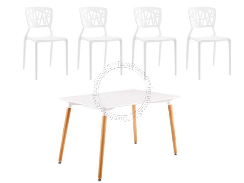 (FurnitureSG) Dining Table Set (Table+4 Chairs) White