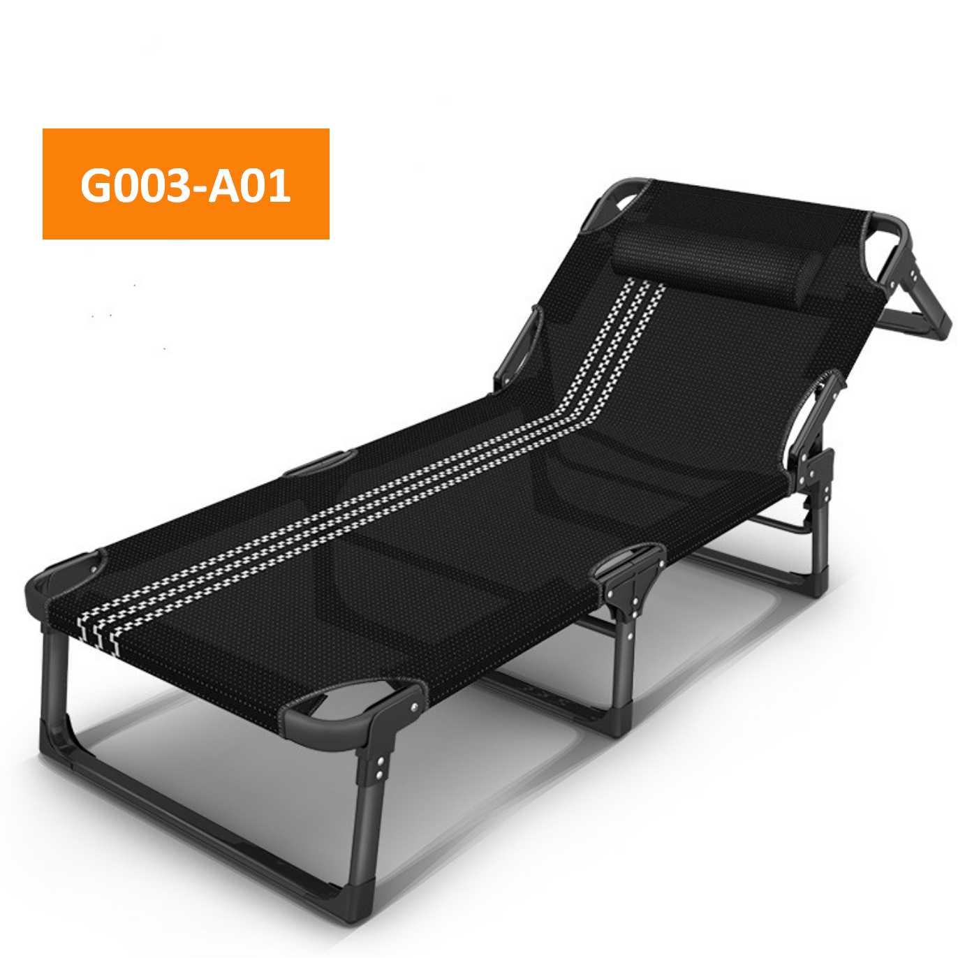AIDEAL.sg 189cm Foldable Chair Portable Lying Bed (black)Foldable bed/Camping Bed/Deck chair/Office bed/single bed