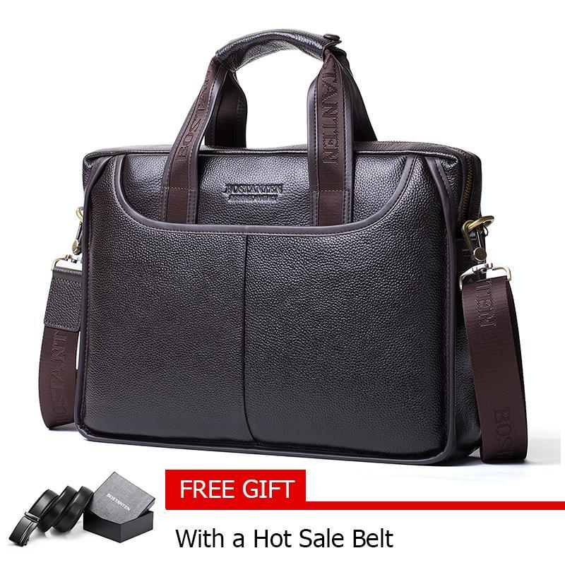 Bostanten Men's Genuine Cowhide leather Briefcase Laptop Bag Messenger Business Bags