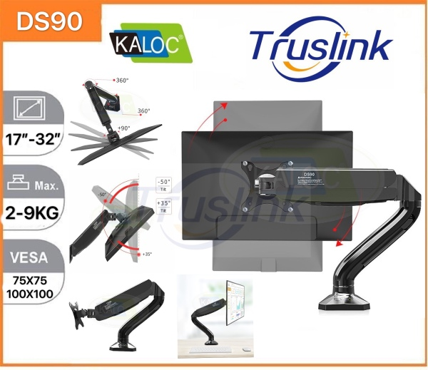 【SG Seller】Truslink Original Kaloc DS90 Gas Spring LCD Monitor Arm 360 Degree Desktop Clamping 17-32 LCD Monitor Double VESA Mount Stand Single Monitor Stand Gas-Strut Flexi Mount