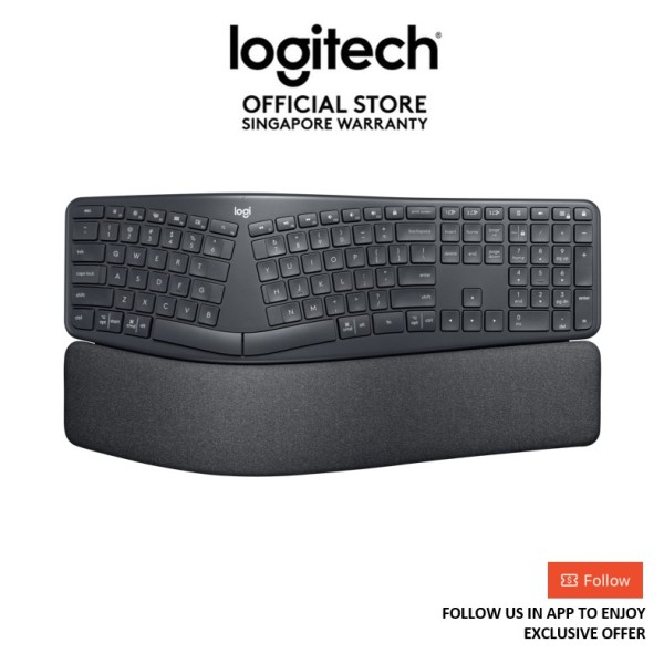[Exclusive Deals] Logitech Ergo K860 Wireless Ergonomic Keyboard with Wrist Rest - EBH (logitech keyboard) Singapore