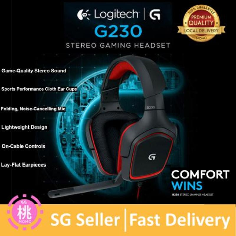 Logitech G230 Stereo Gaming Headset – On-Cable Controls – Surround Sound Audio – Sports-Performance Ear Pads – Rotating Ear Cups – Light Weight Design Singapore