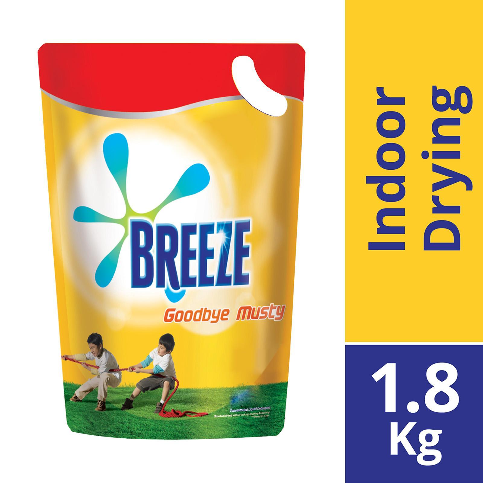 BREEZE Liquid Detergent Refill Goodbye Musty (Indoor Drying) 1.8kg