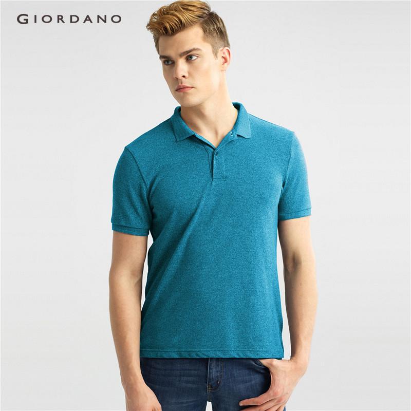 ab2220e545f4 Giordano Men Polo Shirt Plain Polo T Shirt Soft Pique Short Sleeve Tops For  Men Side