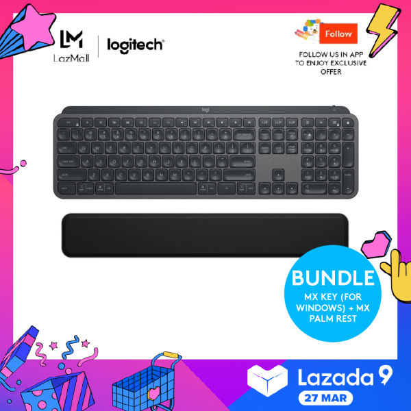 Logitech MX Keys Wireless Illuminated Keyboard + Logitech MX Palm Rest (FOR MX KEYS & CRAFT) Singapore