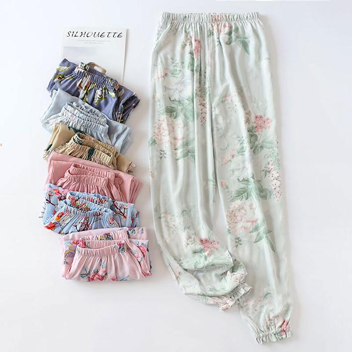 69bb62cec Cotton Silk Sleep Pants Female Summer Trousers High-waisted Thin Shut Loose  Fit Air Conditioner