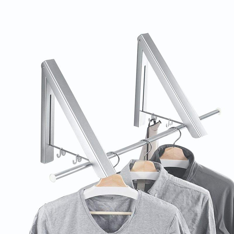 Folding Clothes Hanger Adjustable Drying Rack Retractable Coat Hanger Home Storage Organiser Instant Closet, Wall Mounted with Screws,Matte Polished Aluminum alloy2 Packs)