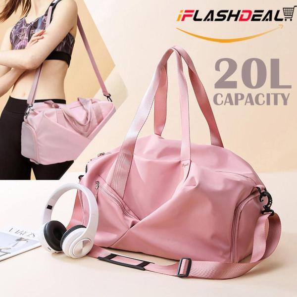 iFlashDeal 3-Way Weekender Bags Sport Gym Bag Wet & Dry Separated Storage Bag Fitness Yoga Handbag Fashion Swimming Totes Weekend Travel Duffle Luggage Bag w/ Waterproof Shoe Compartment