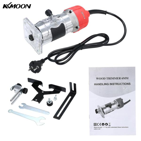 KKmoon 110V 800W Trim Router 30000r/min with Transparent Base Edge Guide Wood Laminate Electric Trimmer Compact Palm Router Corded for Woodworking Trimming Slotting Notching Aluminum EU