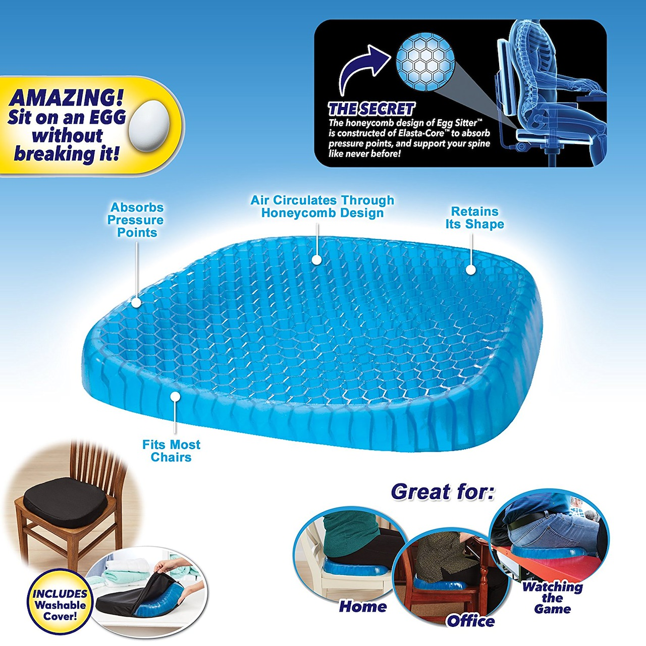 Egg Sitter Seat Cushion Non Slip Cover Breathable Honeycomb Design Absorb Pressu