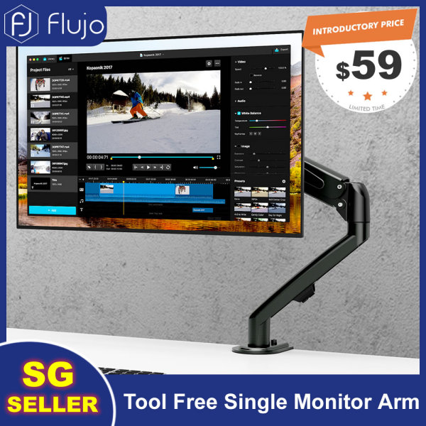 [Pre-Order] Flujo Tool Free Single Monitor Arm Ergonomic Desk Mount Tool Free Fully Adjustable VESA Mount with C-Clamp/Grommet Installation Fits 17-27 LCD/LED Screen, Support up to 7kg-Ship From 9th September