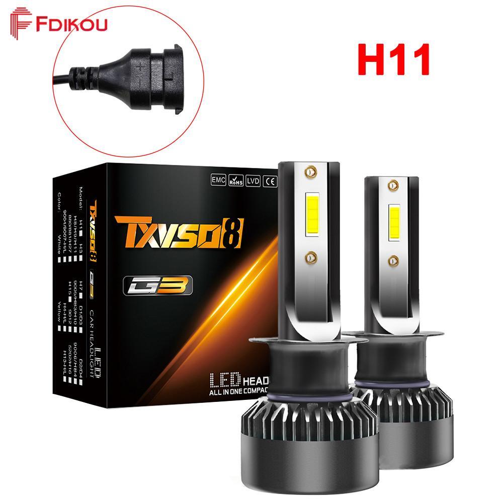 Fdikou 1 Pasang G3 Seri H11/H8/H9 Plug Super Terang Mobil Lampu LED 100 Watt/Set 15000LM/Set Semua di Salah Satu Model Pasang Dan Pakai Upgrated (Kami Memiliki H1/H4/H7/H11/9005/9006/ 9012)