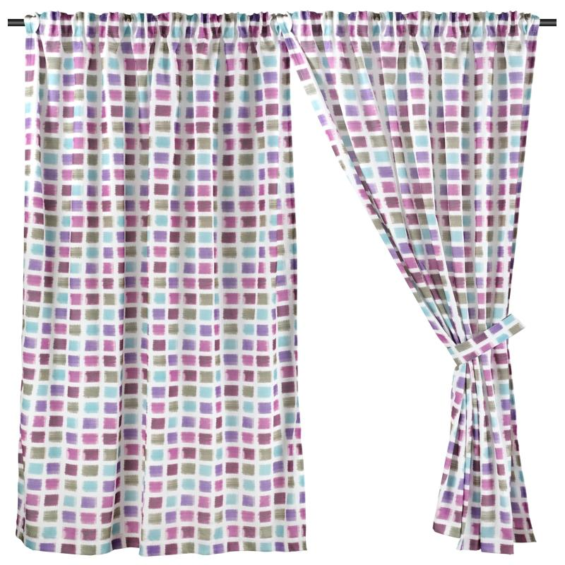 Wide Width, Half Length (228cm W x 172cm H) Ready Made Curtain, Printed Night Curtain, Purple, 3 Ways Hanging Options