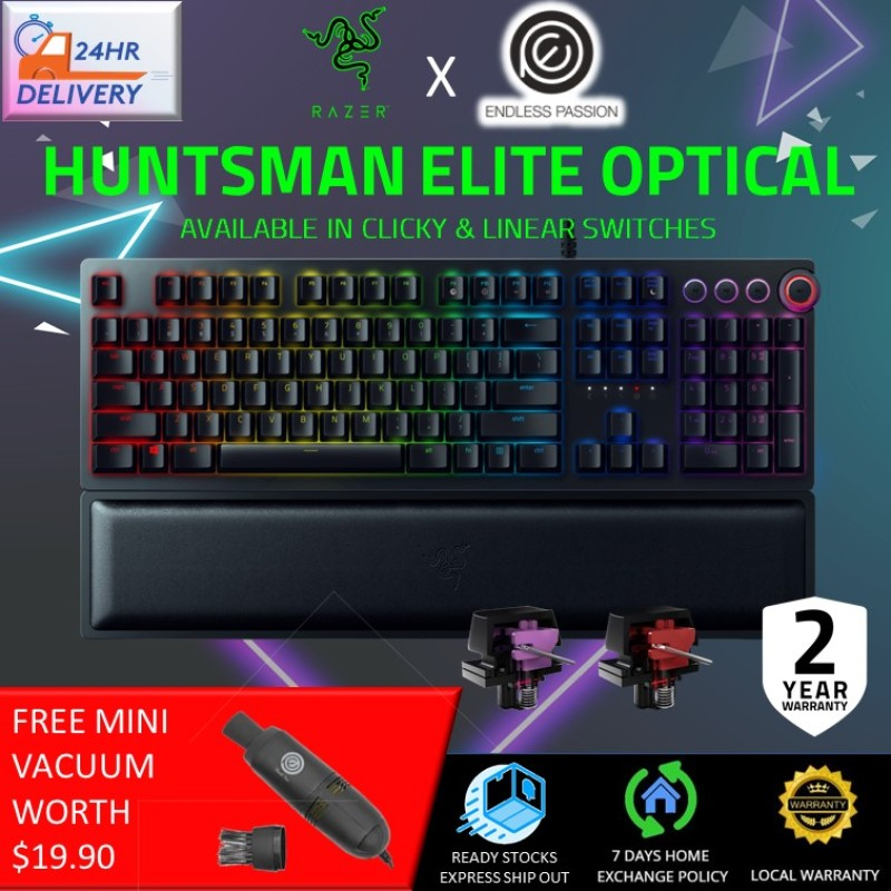 Razer Huntsman Elite - Opto-Mechanical Switch Gaming Keyboard (Clicky/Linear Switch) [FREE Mini Vacuum + 24 hours delivery] Singapore