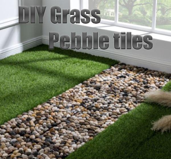 WPC tiles & Artificial grass turf tiles - pebble tiles home DIY tiling composite wood tiles floor tiles fake grass