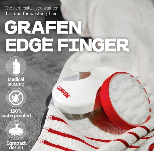Buy GRAFEN Edge Finger Scalp Brush With Medical Silicone (Red / White) 1 Piece Singapore