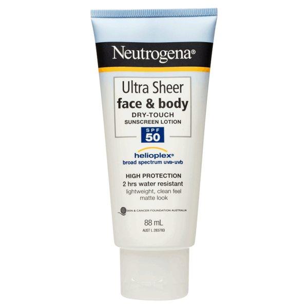 Buy Neutrogena Ultra Sheer Face & Body Lotion SPF50 88mL Expiry May 2023 - 2 Hours Water Resistant ** Lightweight clean feel matt look ** Singapore