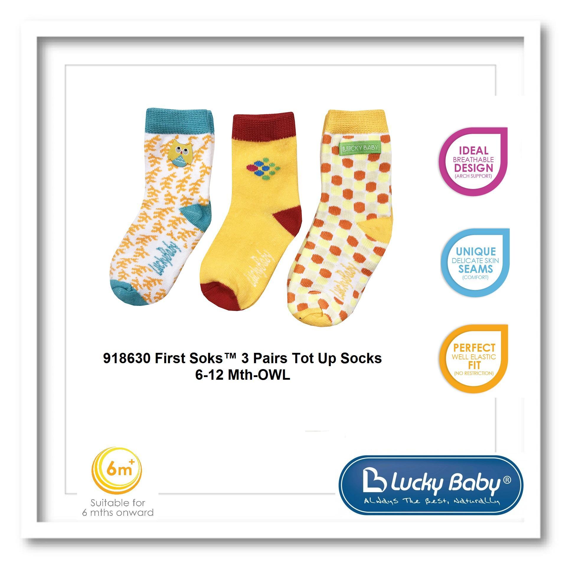 b116976f4c655 LICKY BABY @ 918630 First Soks™ 3 Pairs Tot Up Socks 6-12 Mth