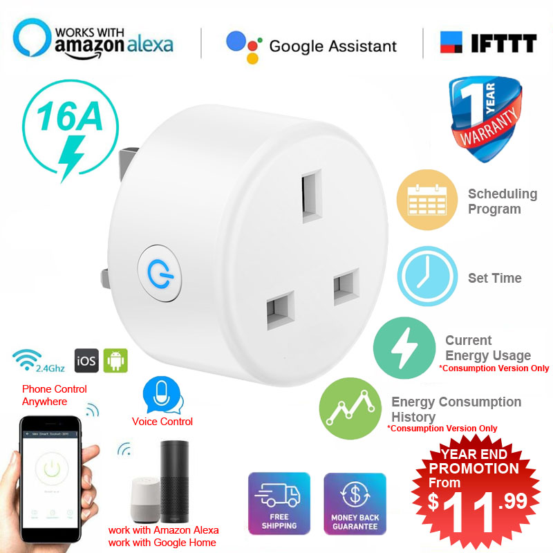 [Electric Usage Consumption] 16A Smart WIFI Plug Socket Power Switch APP Remote Control Timer UK Home Automation