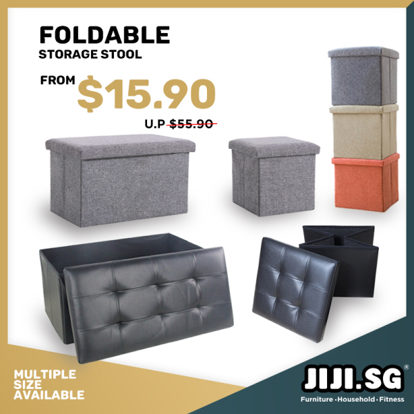 (Delivered in 4Days)(Ready Stock SG) JIJI Foldable Storage Stool - Fabric / Leather ★Chairs | Sofa | Stools ★Storage | Organizer ★Furniture