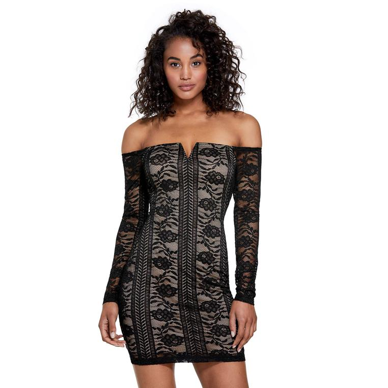Guess Fernanda Lace Off-The-Shoulder Dress.