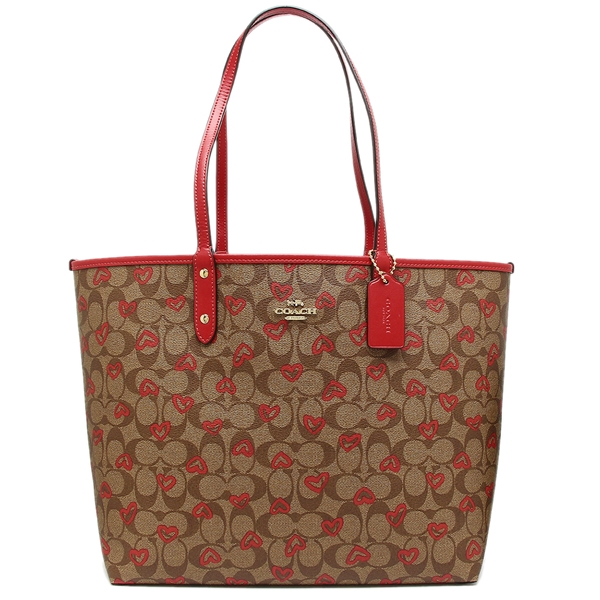 Authentic Coach F91014 Reversible City Tote Multi Hearts with Gift Receipt