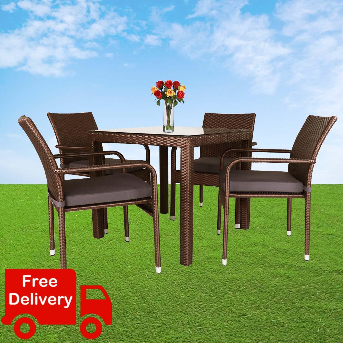 Outdoor Dining Set 1 Table + 4 Chairs. Outdoor Furniture Living, Wicker Table. FREE Assembly